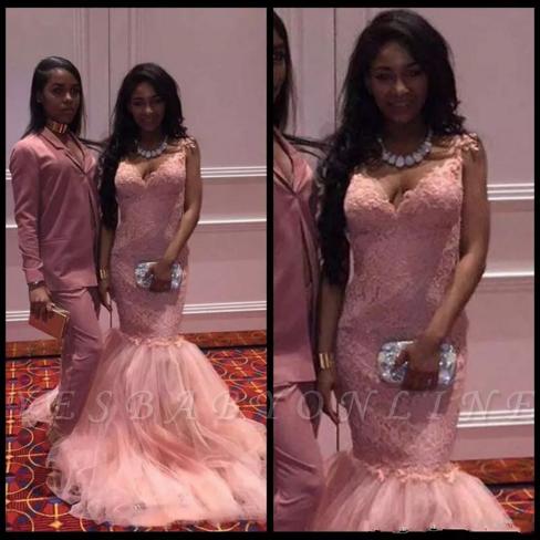 Straps Long Pink Lace Sleeveless Mermaid V-Neck Prom Dresses