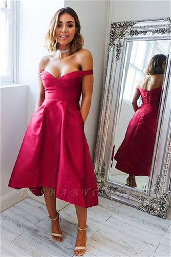 Sexy Hi-lo Evening Dresses | Off-the-shoulder Cheap Prom Dresses