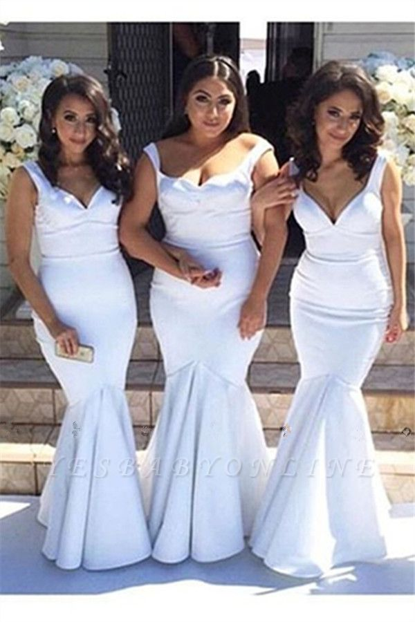 White Simple Floor-Length Sexy Mermaid Gorgeous Straps Cheap Bridesmaid Dress