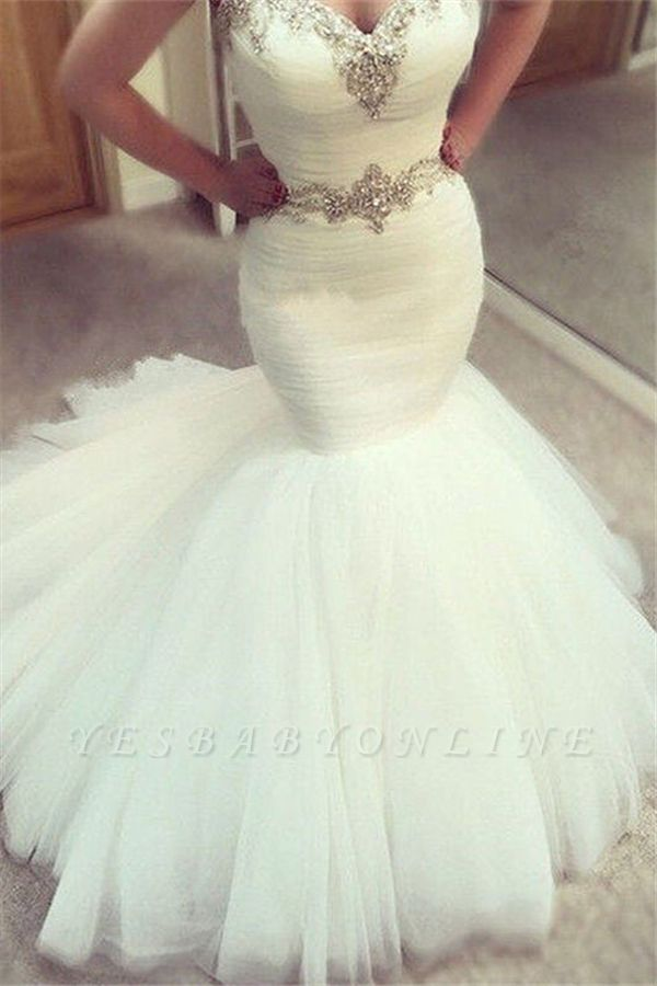 Sexy V Neck Off The Shoulder Sash Beading Fitted Mermaid Wedding Dresses