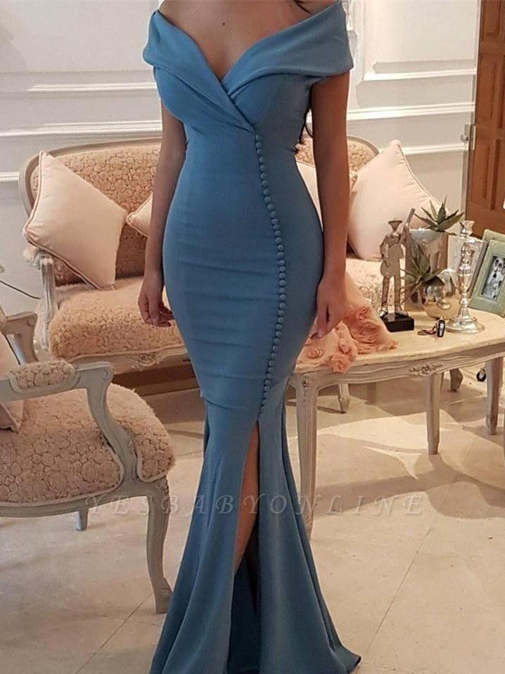 Sexy V-Neck Mermaid Prom Dresses | Side Slit Sleeveless Evening Dresses