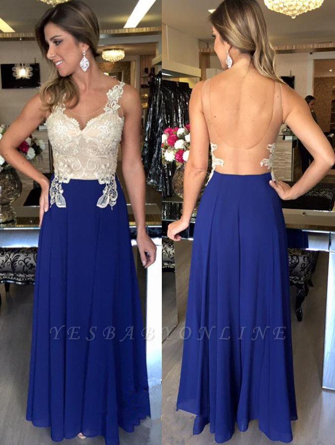 Applique Open-Back Natural Elegant A-Line Sleeveless Prom Dresses