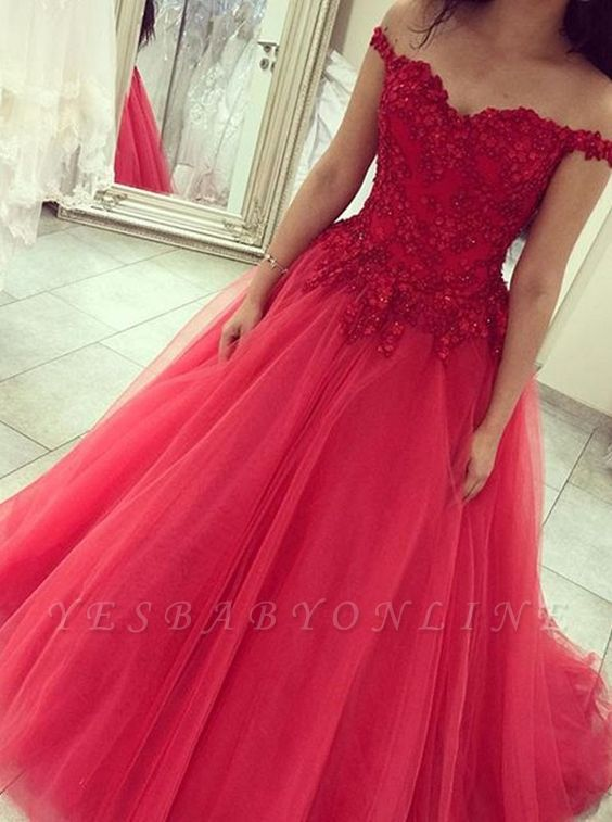 Appliques off-the-shoulder Princess Beads Elegant  Prom Dress