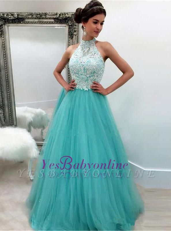 High-Neck A-line Lace Sleeveless Tulle Elegant Evening Dress