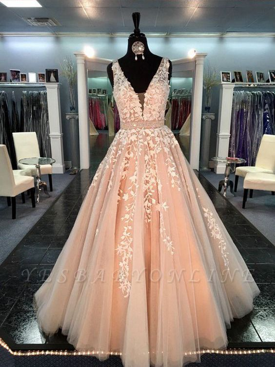 Sleeveless Chic Lace-Applique  Crystal Sashes A-Line V-Neck Prom Dresses