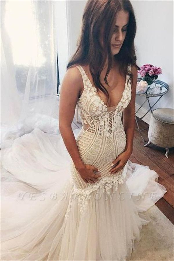V-Neck Sexy Mermaid Wedding Dresses | Sleeveless Open Back Bridal Gowns  with Buttons