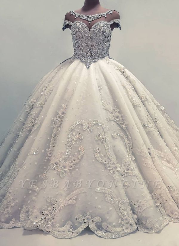 Sparkly Ball Gown Wedding Dresses | Shiny Crystals Bridal Gowns  with Flowers
