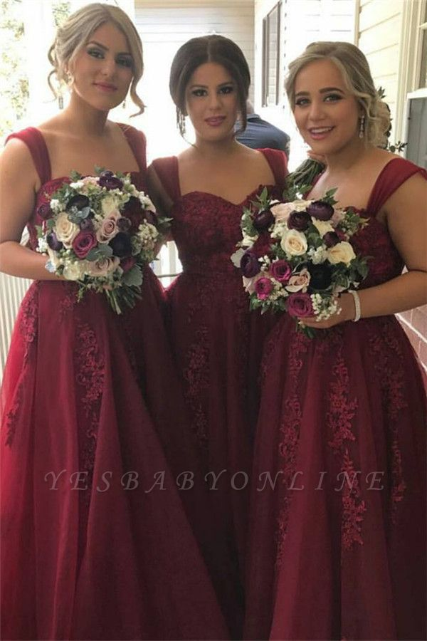 Burgundy Straps Tulle summer Lace-Appliques Sweetheart Bridesmaid Dress