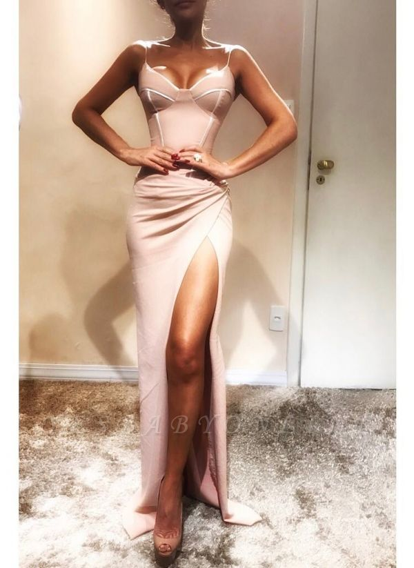 Sexy Spaghetti-Strap Mermaid Prom Dresses | Sleeveless Side Slit Evening Gowns