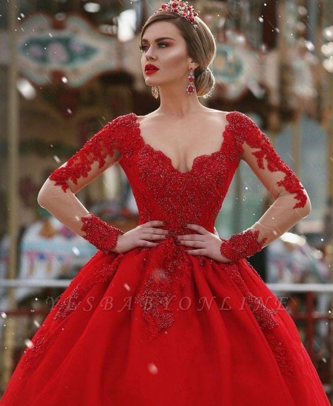 Glamorous Long sleeves Princess Ball Gown Appliques wedding dresses