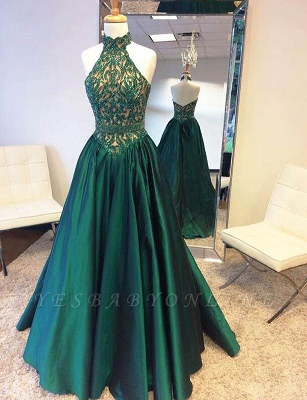 Halter Neck Green Prom Dresses Floor Length Beadings Lace A-Line Evening Gowns