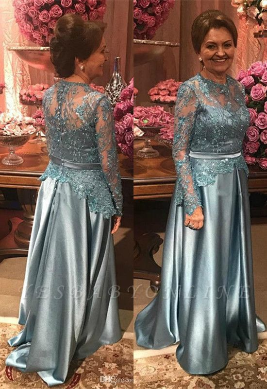 Elegant A-line Long Sleeves Floor Length Lace Mother of Bride Dresses