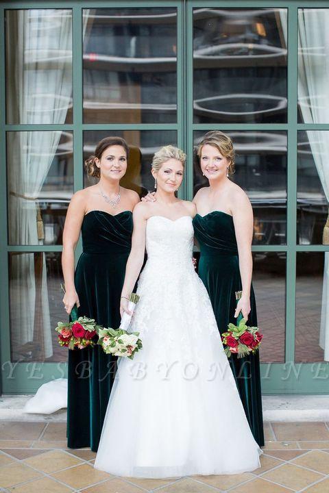 Elegant Long Mermaid Velvet Turquoise Bridesmaid Dresses