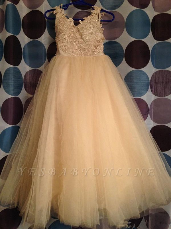 Tulle Lace Backless Flower White Cute Bowknot Girl Dresses