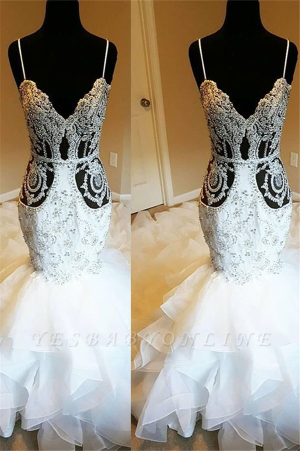 Luxury Spaghetti Strap Crystal Fit And Flare Ruffles Mermaid Wedding Dresses