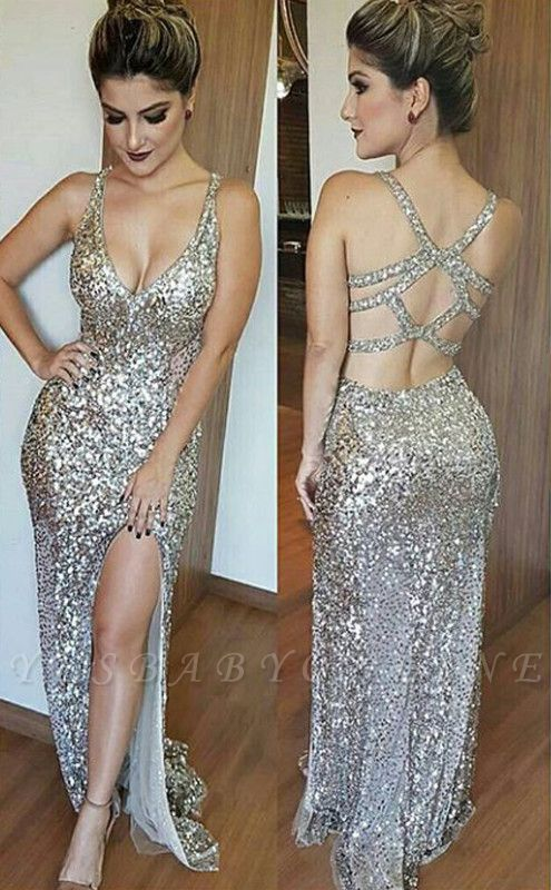 Glamorous Mermaid Sequins Sleeveless 2019 V-Neck Prom Dress