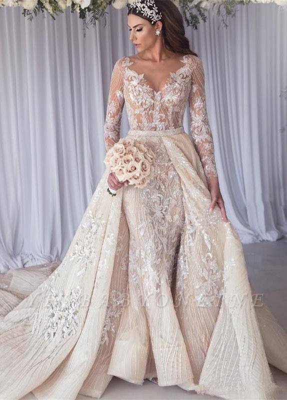 Elegant Jewel Long Sleeve Applique Crystal  Sequin Sheath Wedding Dresses With Detachable Skirt