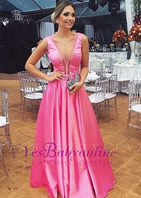 Glossy Fuchsia A-line Prom Dresses Sleeveless V-neck Evening Gowns