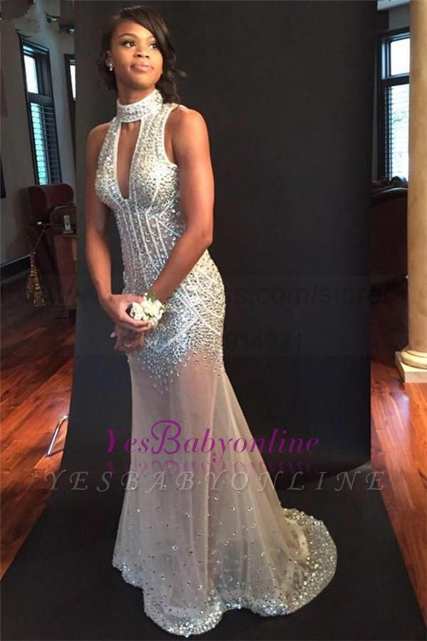 Sequins Halter Sheer-Tulle Sexy Open-Back Crystals Sleeveless Keyhole Mermaid Evening Dress