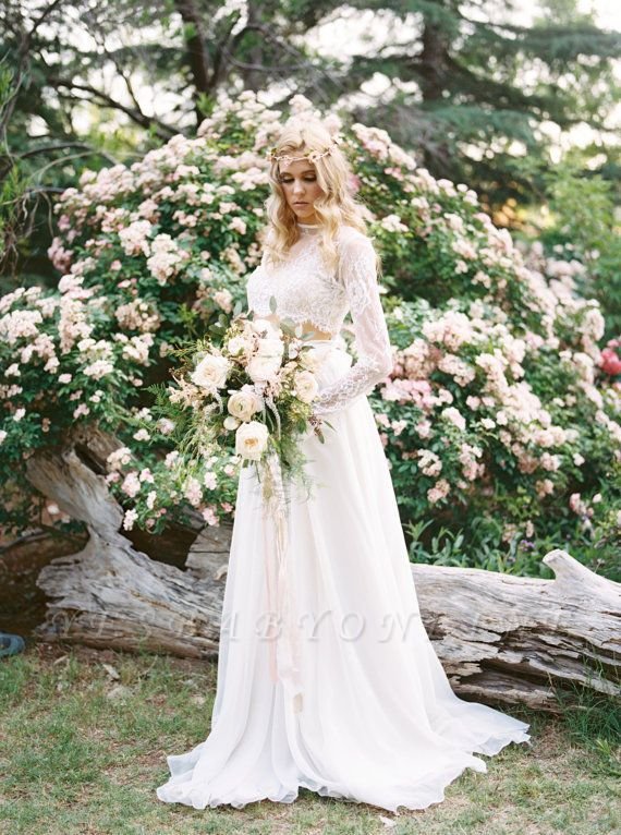A-Line Chiffon Lace Two-Pieces Long Sleevess High Neck Wedding Dress