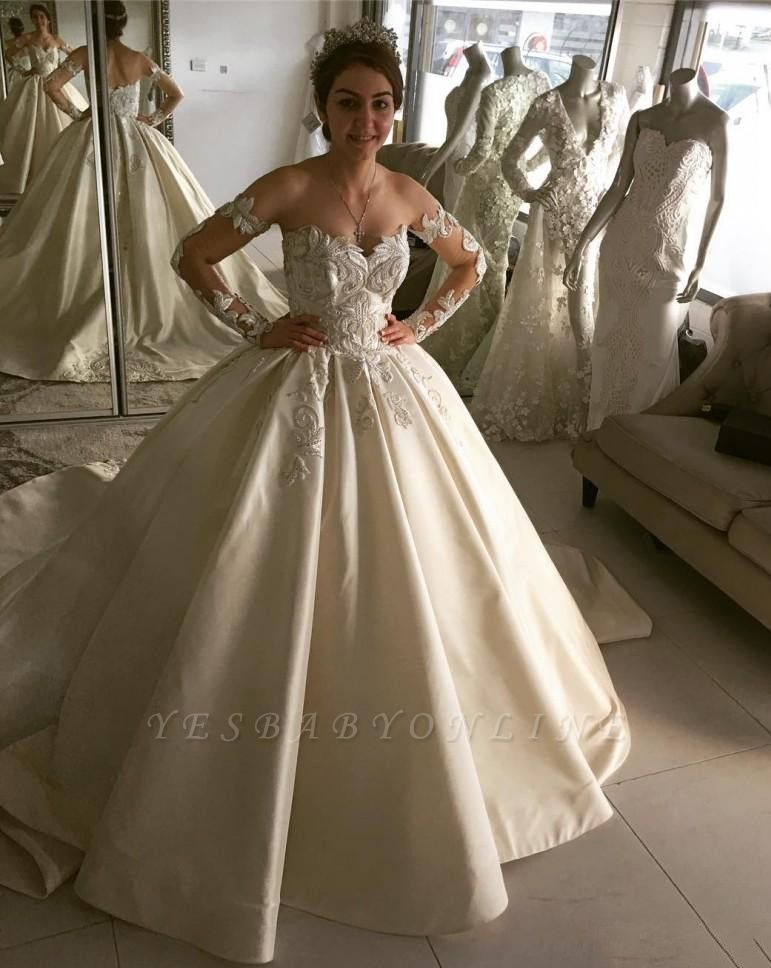 Glamorous Long Sleeves A-line Lace Wedding Dresses