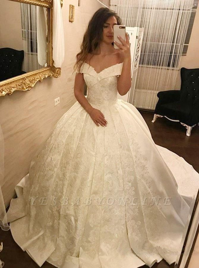 Sparkly Lace Ball Gown Wedding Dresses | Off-the-shoulder Ivory Bridal Gowns