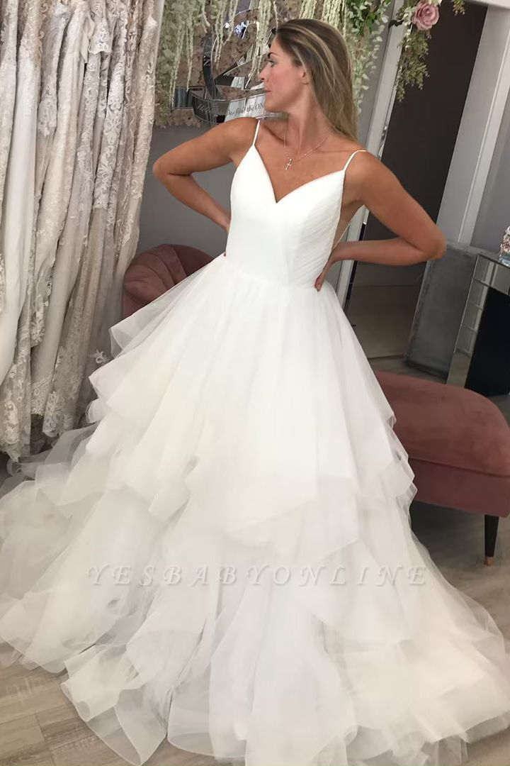 Spaghetti Strap V Neck Backless Tiered Tulle A Line Wedding Dresses