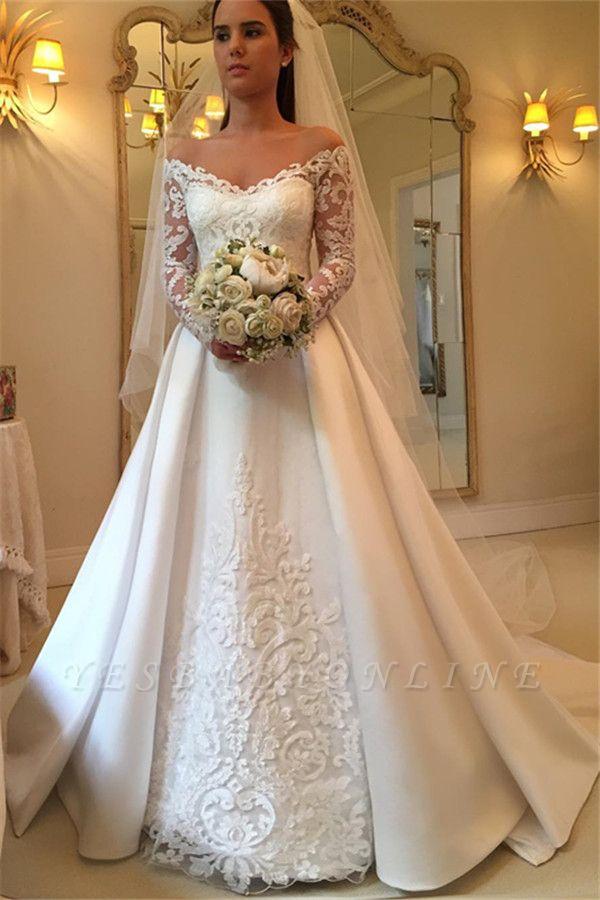 Detachable-Train Off-the-Shoulder A-Line Modern Long Sleevess Wedding Dresses
