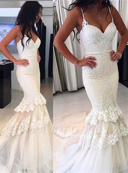 Delicate White Sexy Mermaid Wedding Dress | Lace Beaded Ruffles Bridal Dress