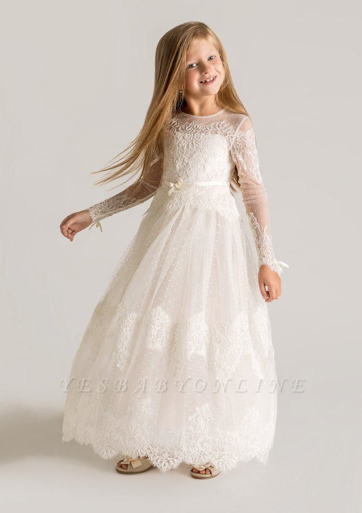 Lovely Tulle Lace A-line Long Sleeves Flower Girl Dress