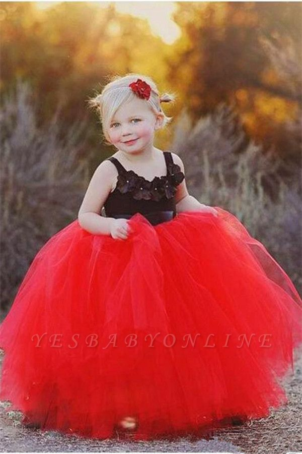 Red Black Flower Girl's Dresses Straps Ball Gown Cute Girl's Party Dresses