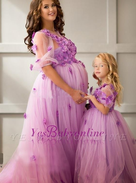 Half-Sleeves Appiluqes Sweep-Train Flowers Ball-Gowwn Tulle Maternity Evening Dress