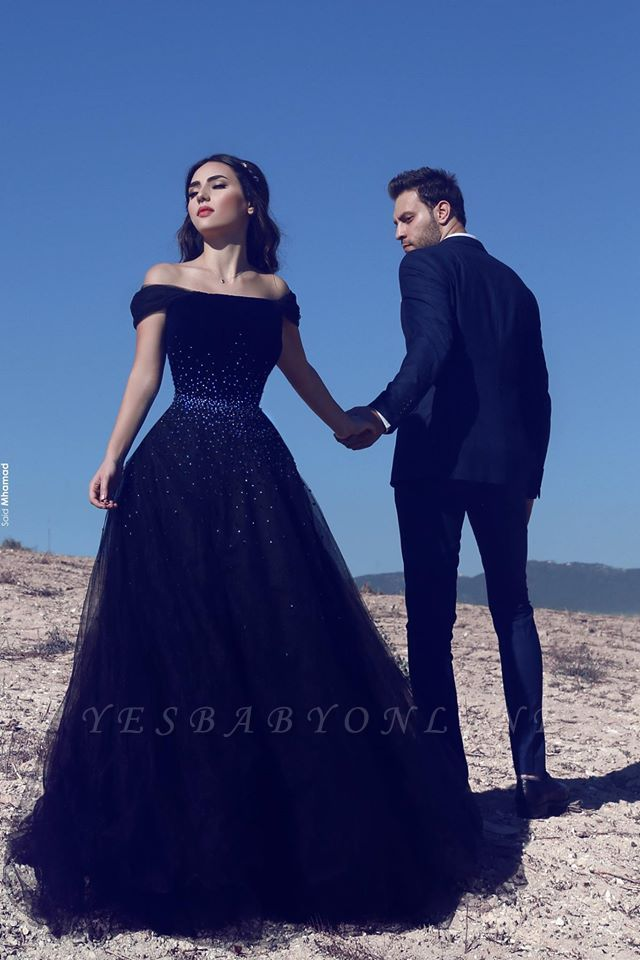 2019 Dark Navy Off-the-Shoulder Glamorous Mesh Beadings  Evening Gowns