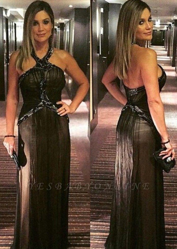 Zipper Halter Floor-length A-line Beading Black Evening Dress