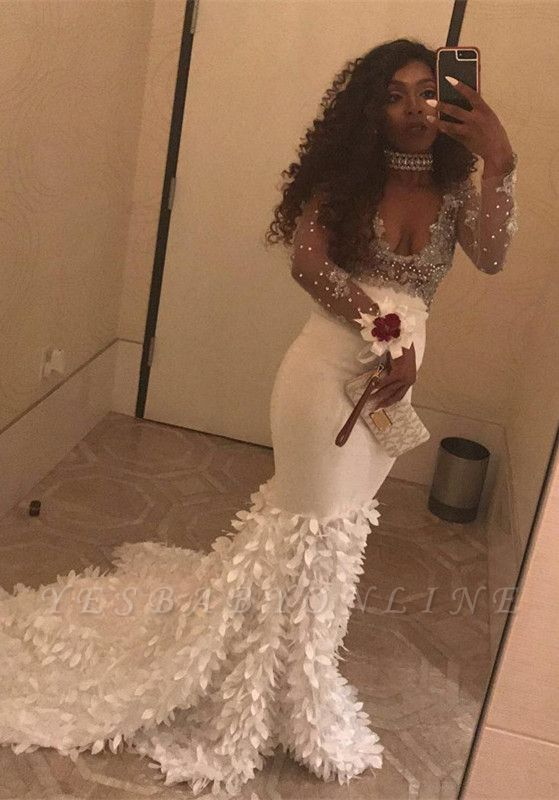 V-Neck Long-Sleeve Beadings Gorgeous Mermaid Prom Dress