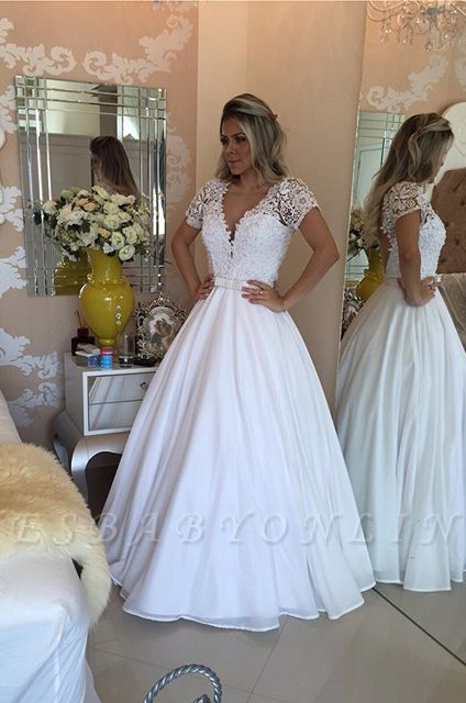Crystal White Short-Sleeves Lace V-Neck Bowknot Sheer Prom Dress