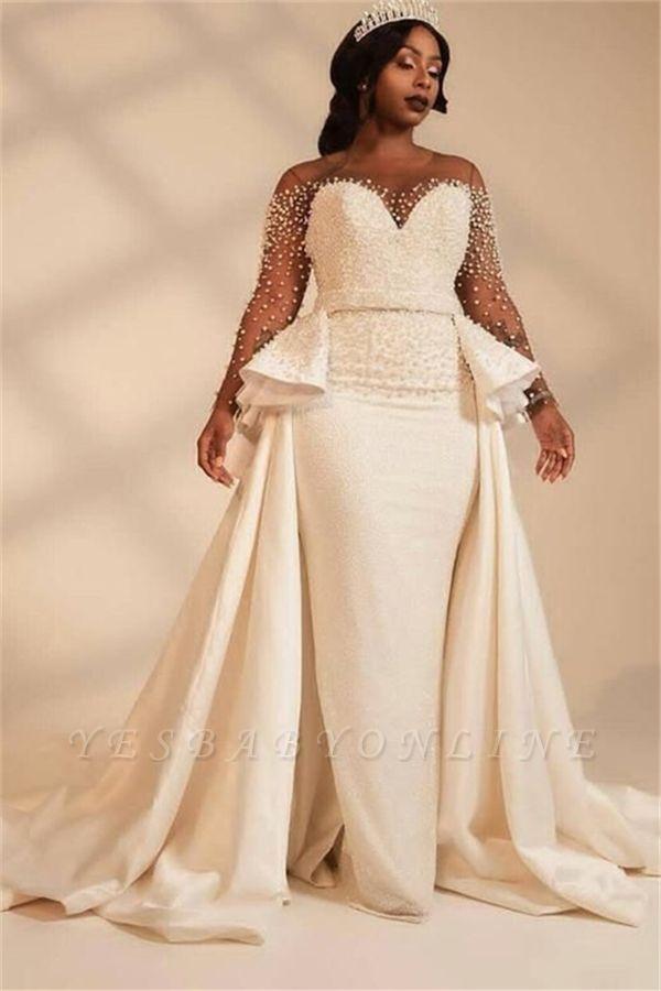 Elegant Jewel Long Sleeve Illusion Tulle Pearls Sash Sheath Wedding Dresses With Detachable Train