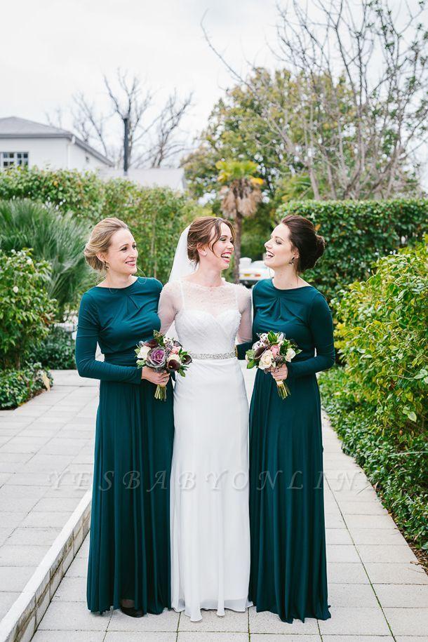 Turquoise Jersey Jewel Elegant Lang-Sleeve Floor-length Bridesmaid Dresses