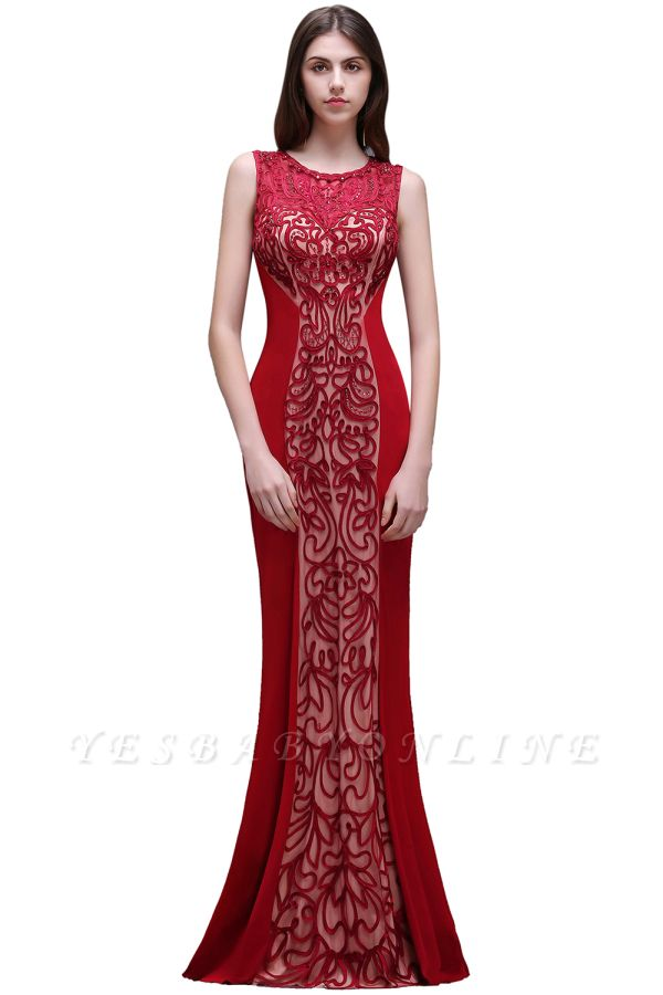 Floor-Length Red Sexy Mermaid Sleeveless Lace Long Zipper Evening Gown