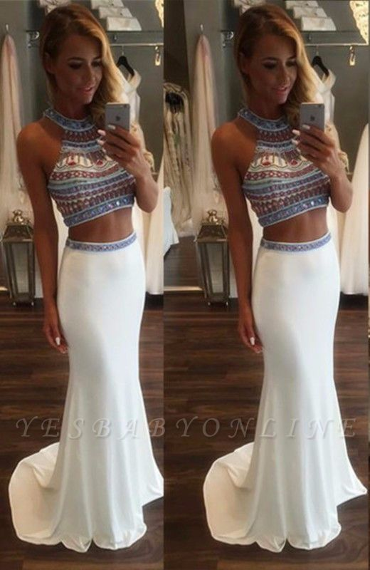 High-Neck Pieces Mermaid Glamorous Crystal Two Prom Dress