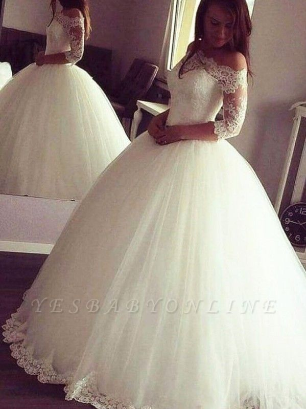 Glamorous Princess Ball Gown Wedding Dresses | Half Sleeves Tulle Bridal Gowns