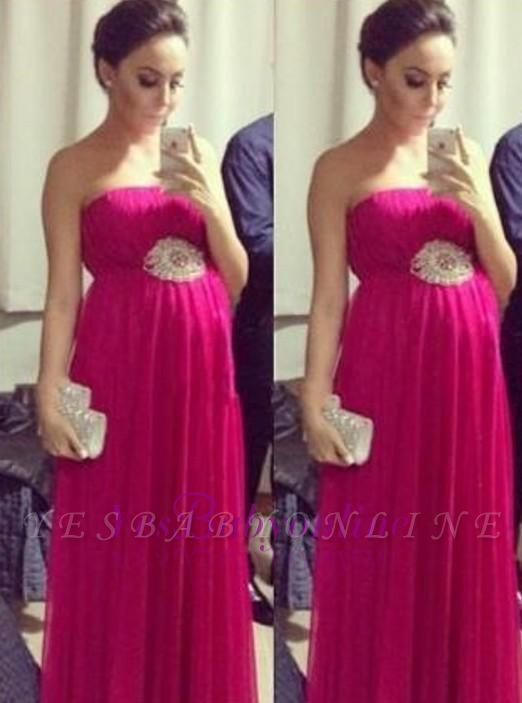 Strapless Pregnant Empire Floor-length Sleeveless Chiffon Simple Evening Dress