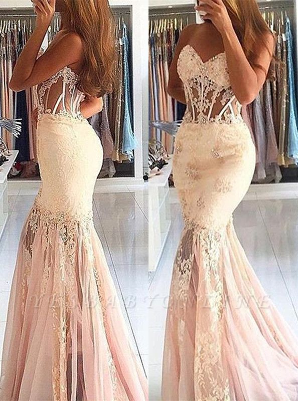 Appliques Long Lace Mermaid Sweetheart Stunning Prom Dress