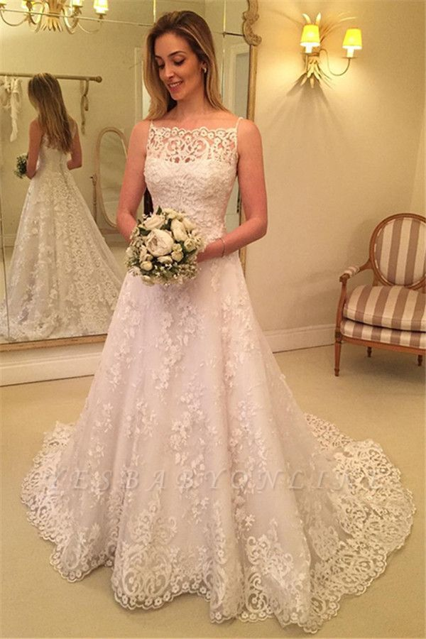 Sleeveless Lace Spaghetti-Straps Buttons Sweep Train Wedding Dress