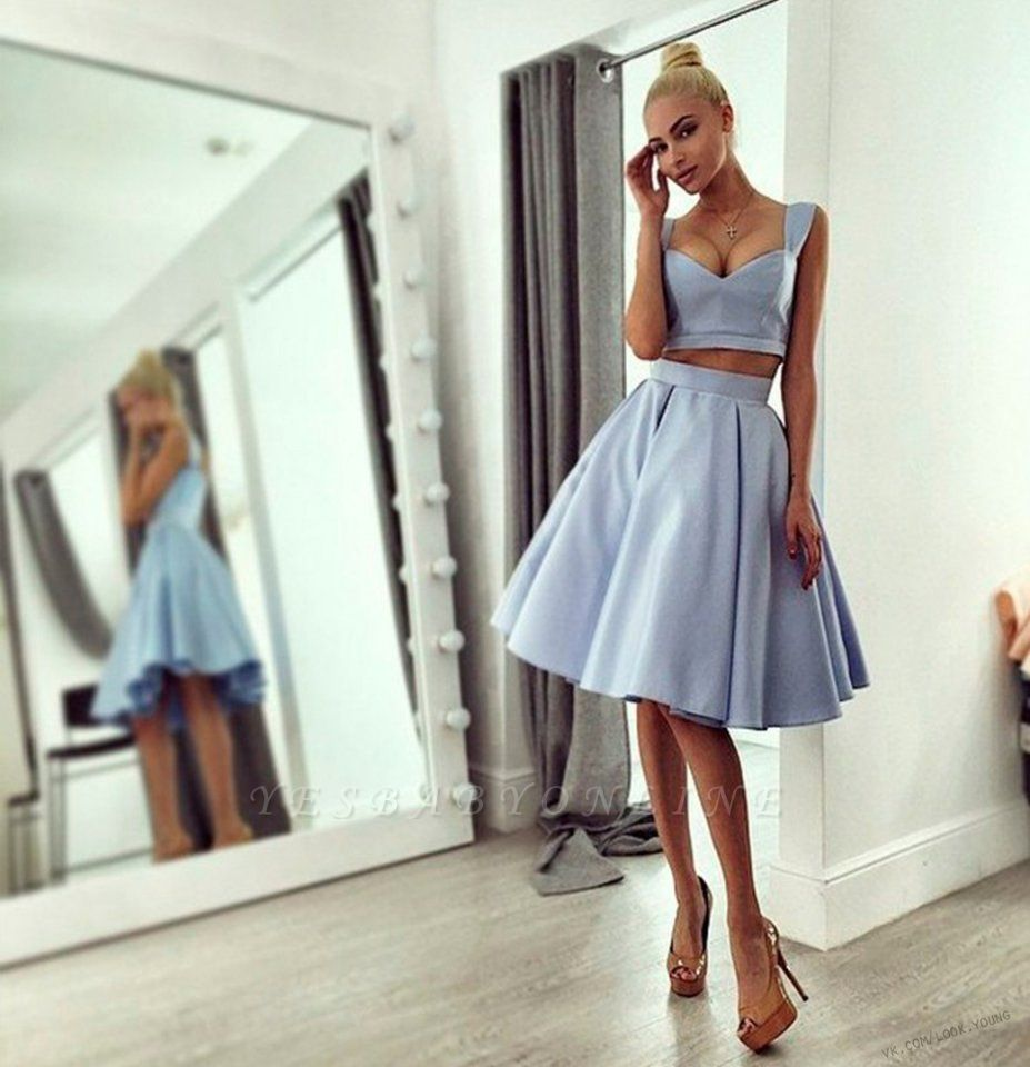 Light-blue Knee-length Ball-Gown Straps Chic Prom Dress