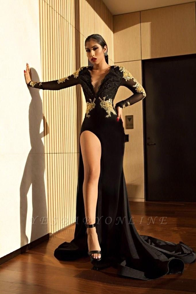 Black V-neck Mermaid Prom Dresses | Appliques Slit Long Evening Gowns