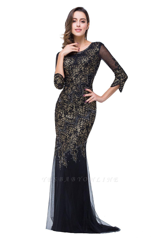 Black Appliques Scoop Mermaid Sleeves Prom Dresses with Beadings