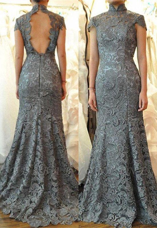 Elegant Cap Sleeves Floor Length Mermaid Lace Mother of Bride Dresses