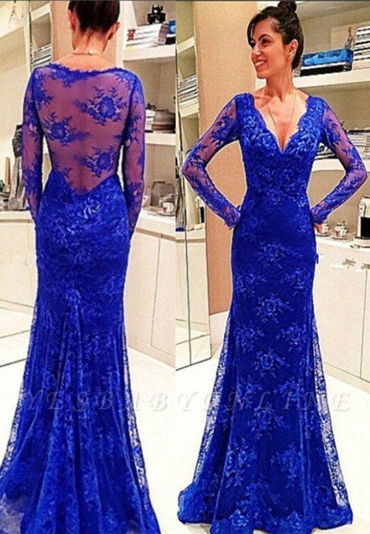 Lace Rpyal-Blue Elegant Long-Sleeve Evening Dress