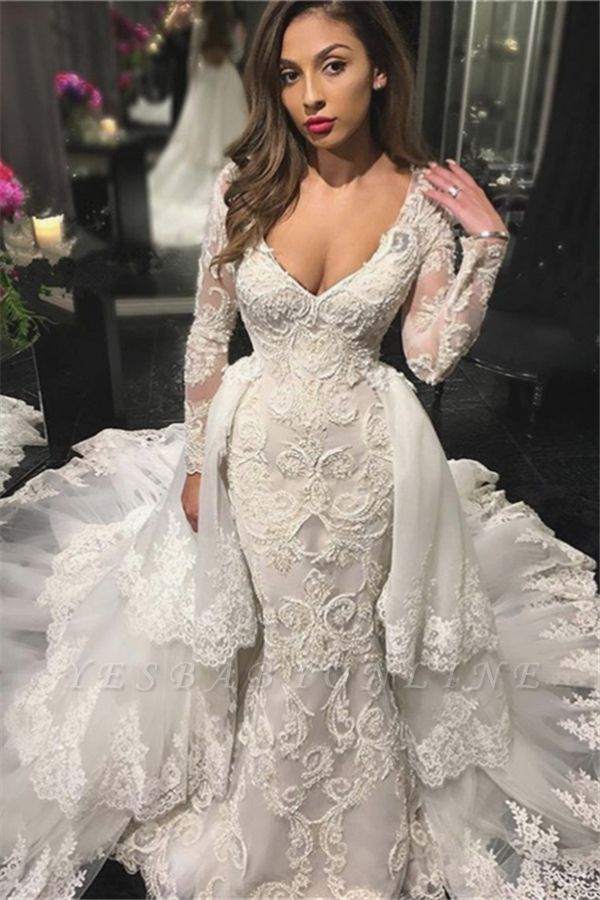 V-neck Beaded Sexy Mermaid Lace Appliques Wedding Dresses with Sleeves